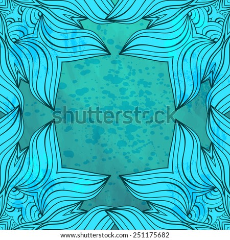 Art background with doodles and watercolor splash. Vector illustration. Editable template with space for your text.Fantasy frame. - stock vector