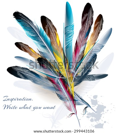 Art background with feathers symbol of inspiration and writing - stock vector