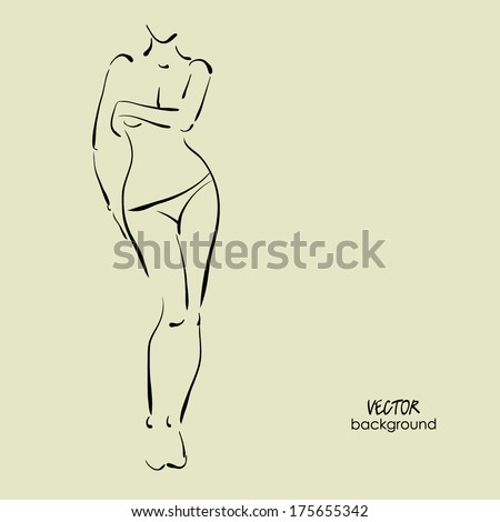 art background with topless beautiful young covering the chest sexy woman in thong , sketch vector - stock vector