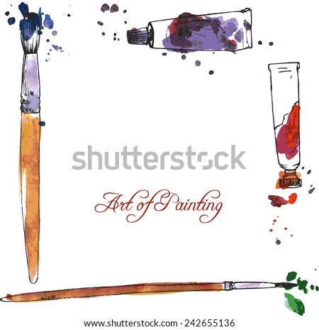 art background with tubes of paint,  brushes and  stains, hand drawn vector illustration - stock vector