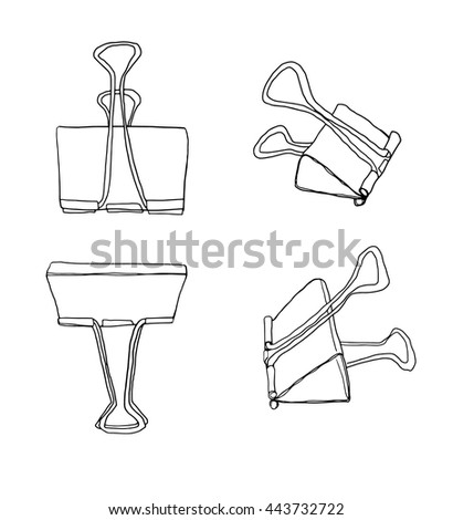 art Binder Clips Paper Clips Durable Office Paper File Organize photo clip holder office accessories  line art vector illustration - stock vector