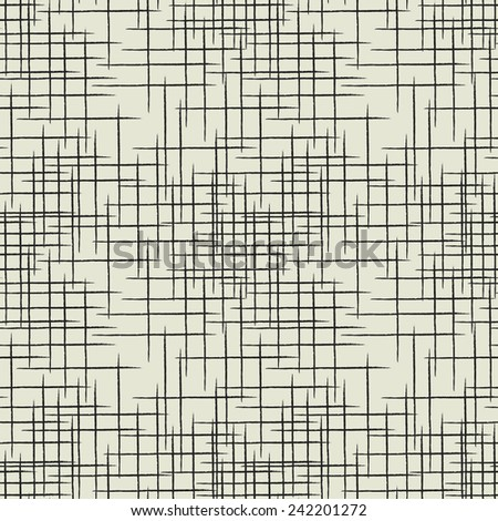 art black graphic geometric seamless pattern, square background with grunge chaotic lines - stock vector