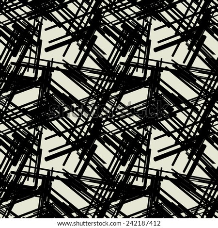 art black graphic geometric seamless pattern, square background with grunge chaotic stripes ornament - stock vector