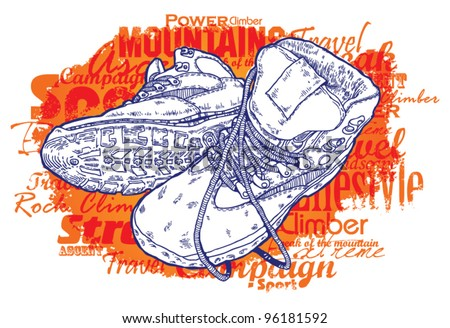 art boots with sport words - stock vector