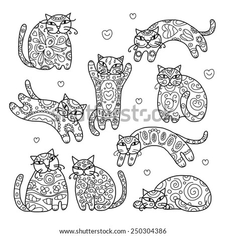 Art cats with floral ornament for your design. Vector illustration - stock vector