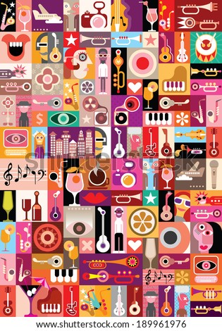 Art collage, musical vector illustration. Patchwork seamless wallpaper. - stock vector