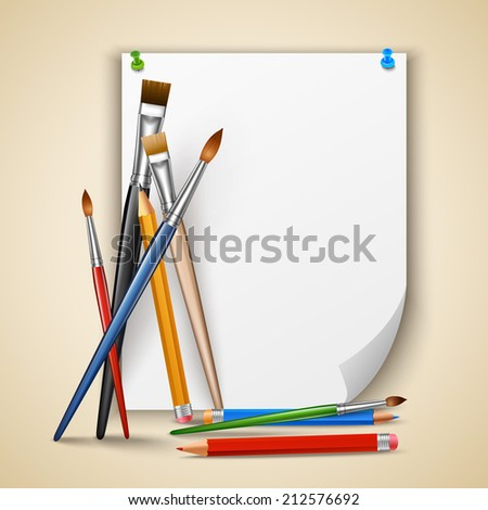 Art color paintbrushes and pencils with sheet of paper vector illustration - stock vector