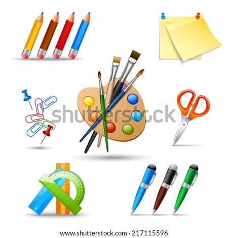 Art color palette and painting drawing tools set isolated vector illustration - stock vector