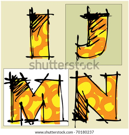 art colorful alphabet, 3 of set - stock vector