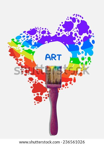 Art concept illustration. Paint brush tool and red blot as heart with rainbow drops and place in center. Heart as frame. On white background. Vector illustration. As design element,web page template. - stock vector