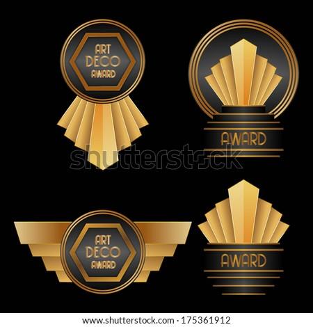 Art Deco Awards Stock Vector