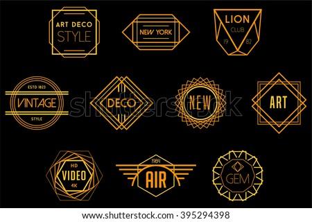 art deco badges vector logos stock vector 395294398 shutterstock. Black Bedroom Furniture Sets. Home Design Ideas