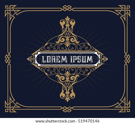 Art deco frame and label design, Resource for Hotel, Spa, Restaurant, Jewelry or other Product tags. Vector illustration