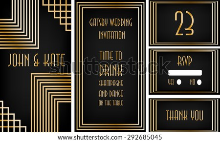 Art deco frame great gatsby theme stock vector 292685045 art deco frame great gatsby theme wedding invitation black and golden stopboris Image collections