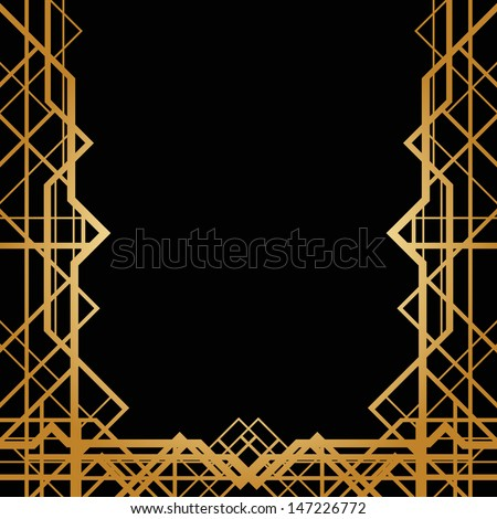 Art deco geometric frame (1920's style) - stock vector