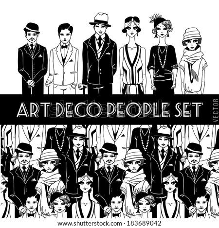 Art deco people set. - stock vector