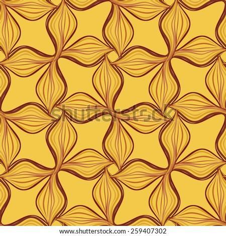 Art deco vector floral pattern in golden yellow color - stock vector