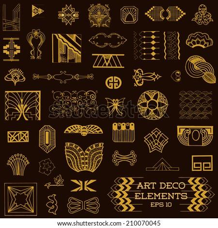 Art deco vintage frames design elements stock vector for Element deco design