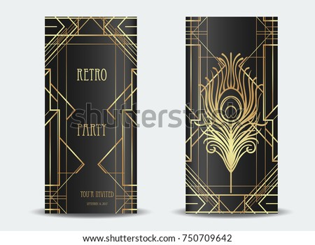 Art Deco Vintage Invitation Template Design Stock Vector 750709642