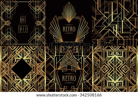 Art Deco vintage patterns and frames. Retro party geometric background set (1920's style). Vector illustration for glamour party, thematic wedding or textile prints. - stock vector
