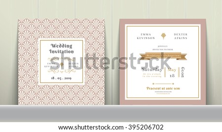Art Deco Wedding Invitation Card in Gold and Pink on wood background - stock vector