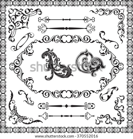 Art decor ornament luxury set isolated on white - stock vector