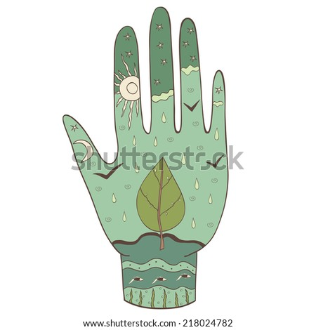 art depicting ecology, drawing by hand, the nature of salvation - stock vector