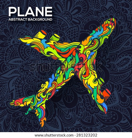 Art flying airplane with abstract colorful ornaments background. Vector decorative national template of culture illustration design concept - stock vector