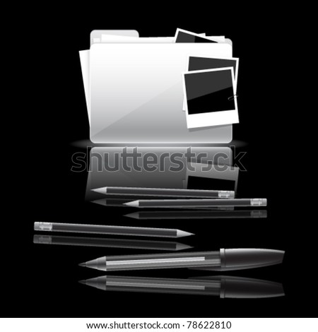 Art folder and writing tools. Folder with documents and photo cards, pen and pencils isolated on black background - stock vector