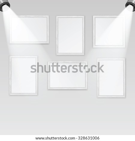 Art gallery and spotlights with place for your design.A set of wooden frames for paintings and photos on the wall are illuminated by lamps - stock vector