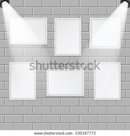 Art gallery and spotlights with place for your design.A set of wooden frames for paintings and photos on the brick wall are illuminated by lamps - stock vector