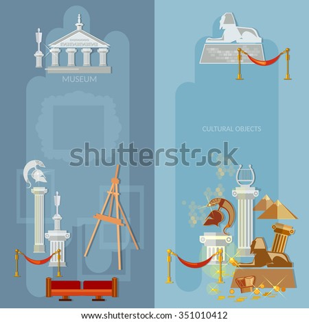 Art gallery antique museum exhibition world culture ancient civilizations banners - stock vector