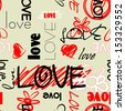 art graffiti vector seamless pattern, background with love, flowers and heart; red, black and white colors  - stock photo
