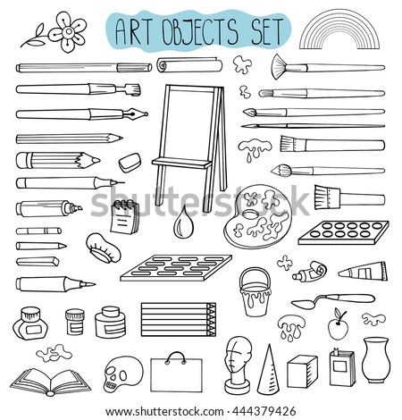 Art hand drawn supplies,instruments set.Vector doodle symbols,objects for painting,drawing,Art  sketching. Isolated outline tools.Art background,illustration - stock vector
