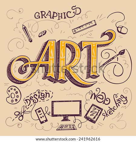 Art hand-lettering typography card with hand-drawn elements - stock vector