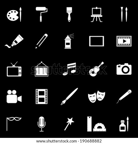 Art icons on black background, stock vector - stock vector
