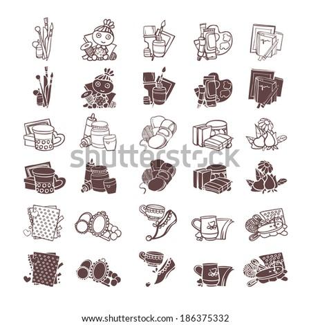 Art icons set - stock vector