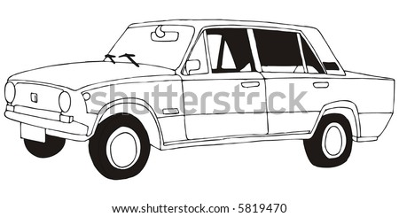 drawing little old car stock vector 373773715