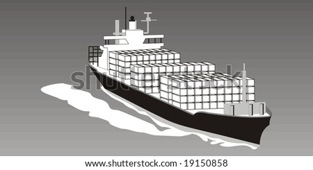 art illustration of a full cargo ship