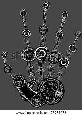 art illustration of human hand of many mechanisms - stock vector