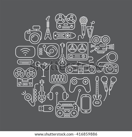 Art line on a dark grey background Entertainment and Home electronics vector icon set. Round shape illustration. - stock vector