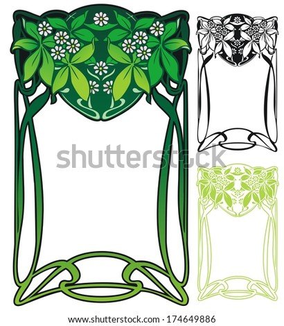 Art Nouveau border with leaves and little flowers - stock vector