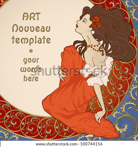 art nouveau card with lady sitting on floral rich frame - stock vector