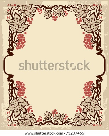 Art Nouveau frame with stylized guelder rose - stock vector