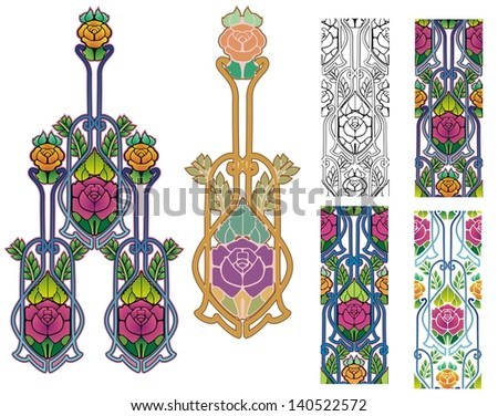 Art nouveau roses seamless tiles and design elements - stock vector