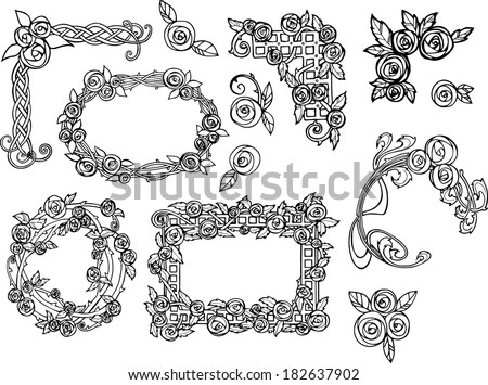 art nouveau style vintage rose decorations and borders charles mackintosh style - stock vector