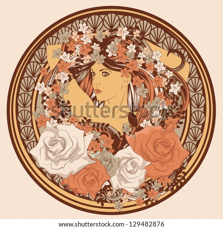 Art Nouveau styled woman with long hair flowers and frame - stock vector