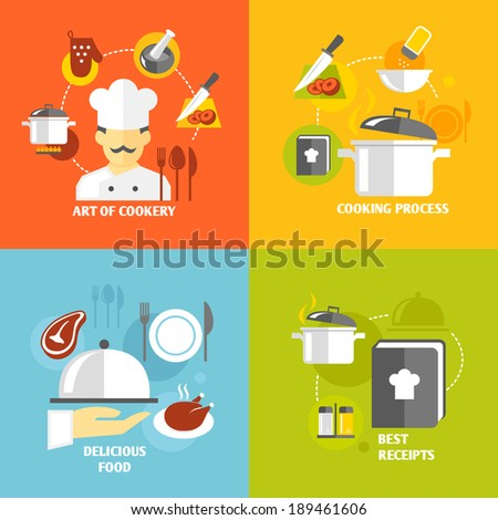 Art of cookery cooking process delicious food best recipes decorative icons set isolated vector illustration - stock vector