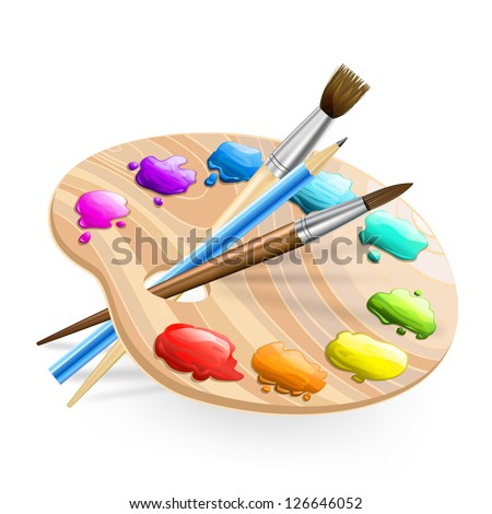 art palette with brushes,pencil and paints - stock vector