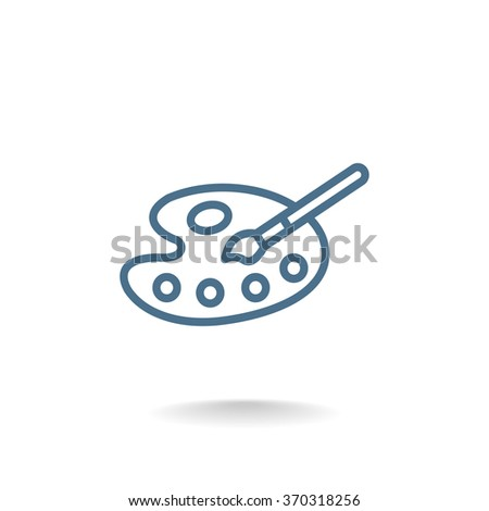 Art palette with paint brooch icon - stock vector